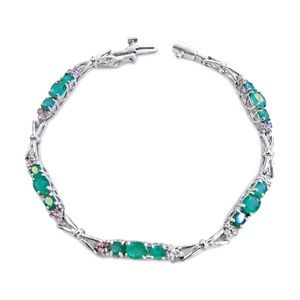 Jewelry - 14 Karat Diamond and Emerald Ladies Bracelet